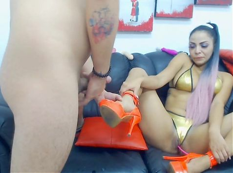 Latin girl big ass throat fucks guys cock B4 jerks on shoes