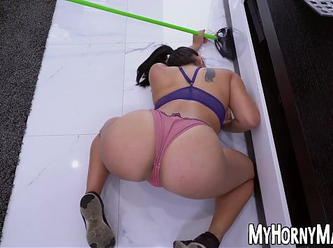 Horny and slutty housekeeper sucks on dick after mopping